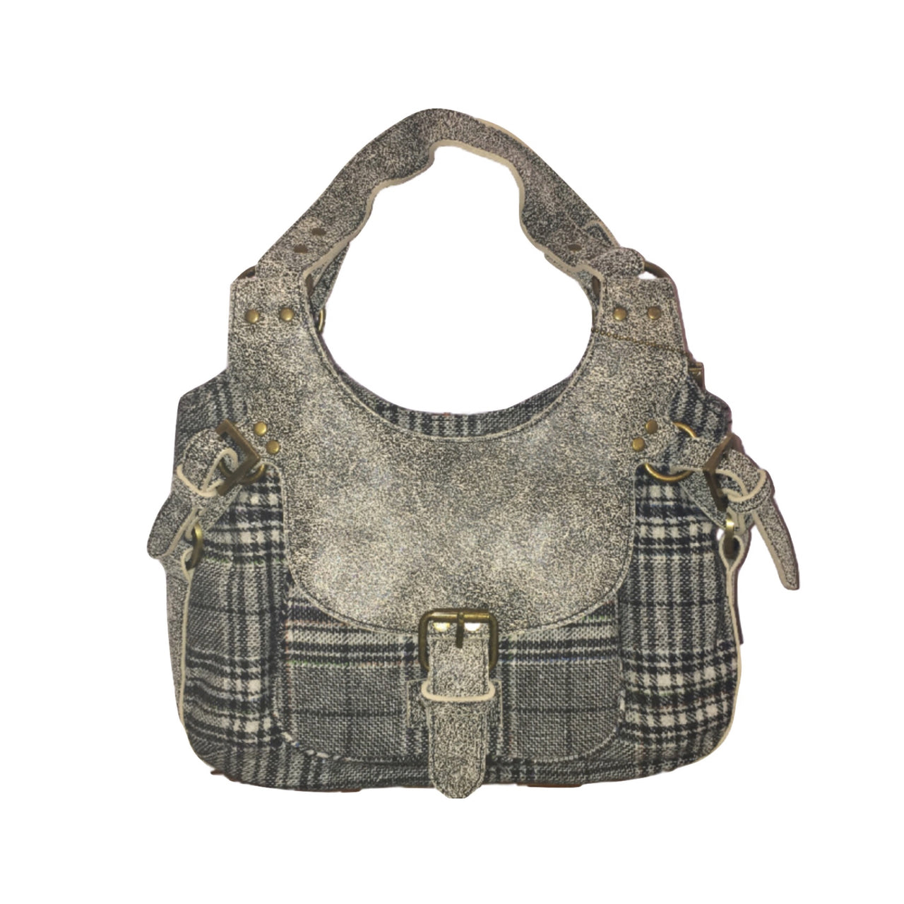 Grey Plaid Handbag
