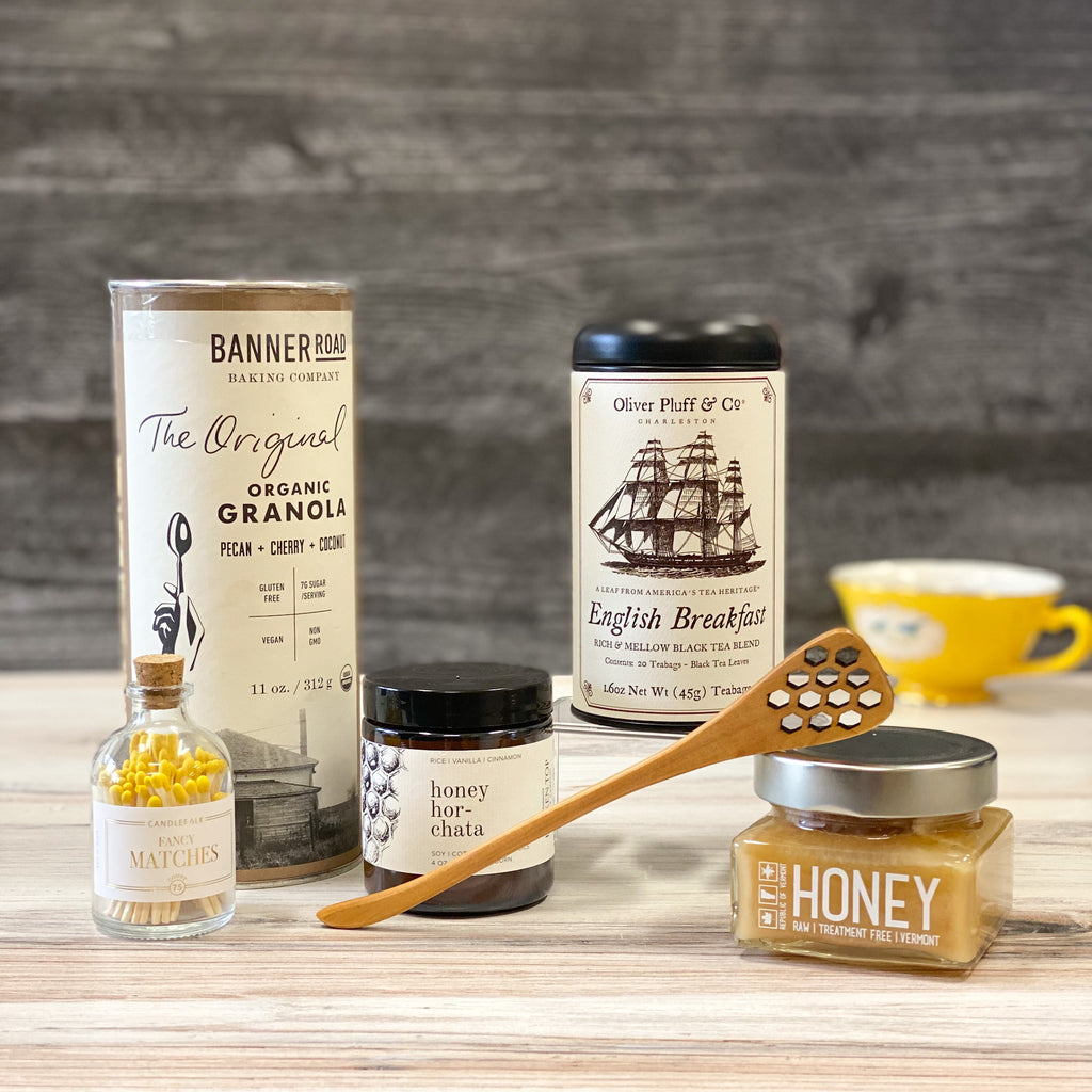 Morning-Boost-granola-Tea-Honey-Candle-dipper-matches-sparrow-gift-box-american-made
