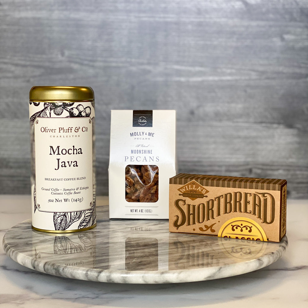 Just-Because-Sparrow-Gift-Box-Mocha-Java-Coffee-Shortbread-Cookies-Moonshine-Pecans-American-Made  Edit alt text