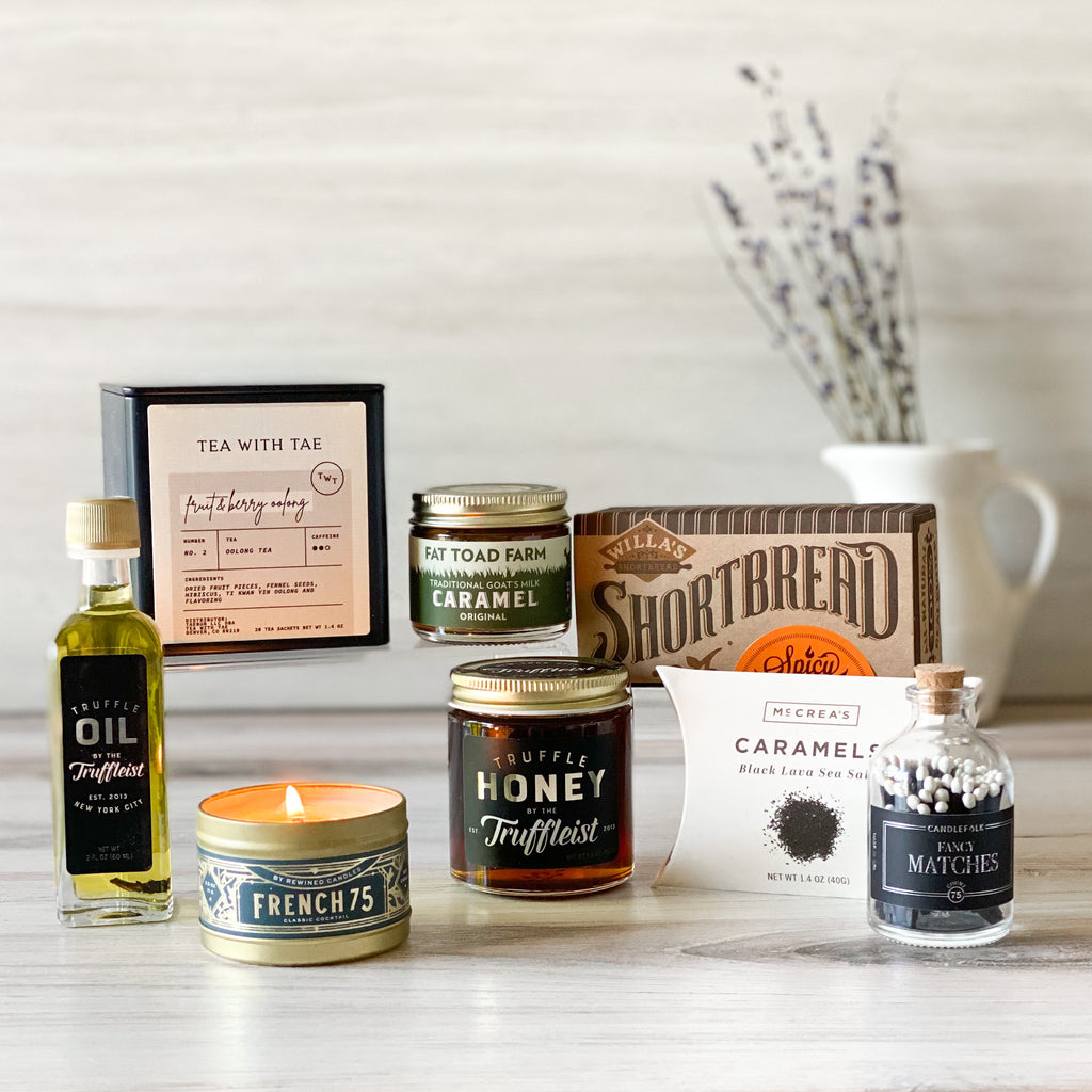 Perfect-pantry-caramels-tea-cheese-bicuits-truffle-honey-oil-candle-mathces-sparrow-gift-box-american-made