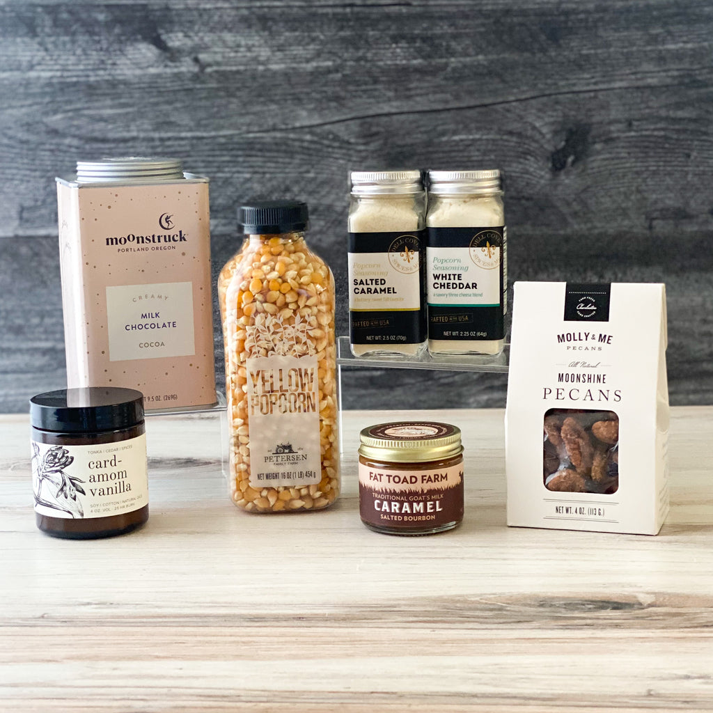 Sweets-Treats-hotchocolate- caramel-seasonings-pecans-Popcorn-Caramel-Candle-Sparrow-Gift_Box-American-Made  Edit alt text