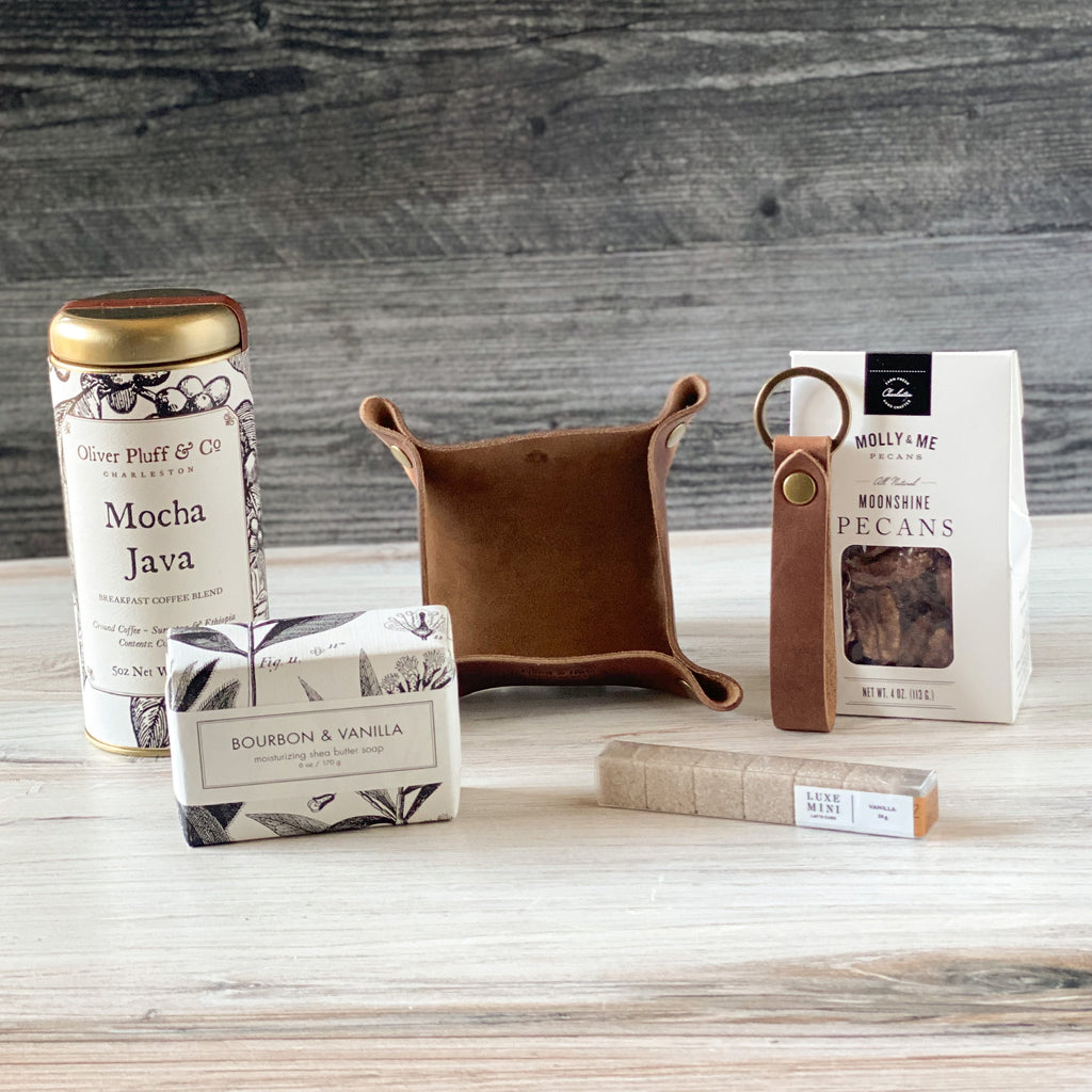 Perfect-gentleman-coffee-bourbon-soap-key-chain-leather-moonshine-pecans-Sparrow-box-items-American-made -items-American-made