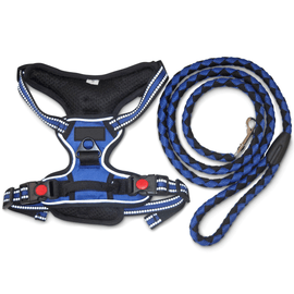 No-Pull Dog Harness with 140cm leash- Adjustable Straps, Front & Back Clip, Easy Control Handle.  L 10