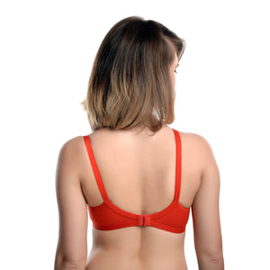 RED SOLID UNDERWIRED LIGHTLY PADDED T-SHIRT BRA