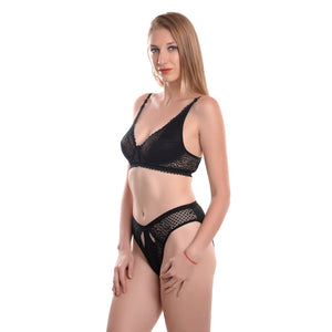 Women Black Solid Lingerie Set