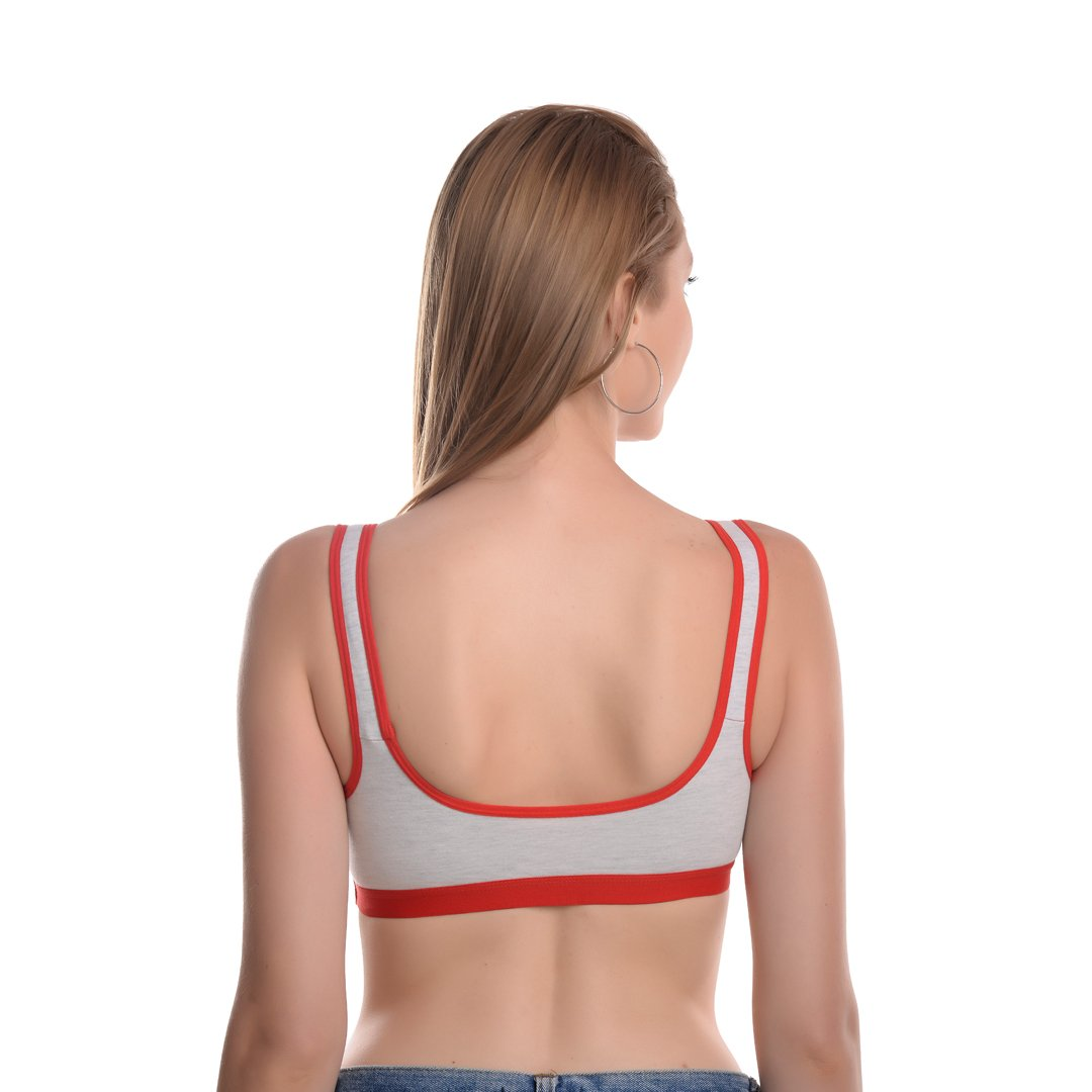 WOMEN GREY AND RED SOLID SPORTS BRA