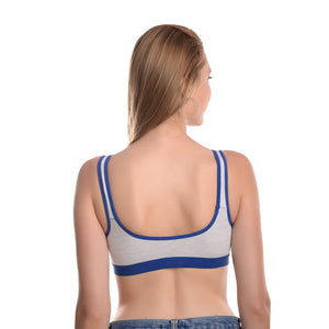 WOMEN GREY AND BLUE SOLID SPORTS BRA