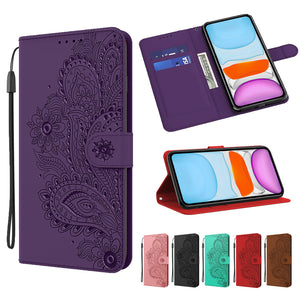 Peacock Embossed Imitation Leather Wallet Phone Case For Samsung Note20/Note 20Ultra/Note 10Lite