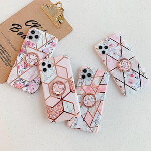 Electroplating Geometric Flower With Ring Holder For IPhone Case