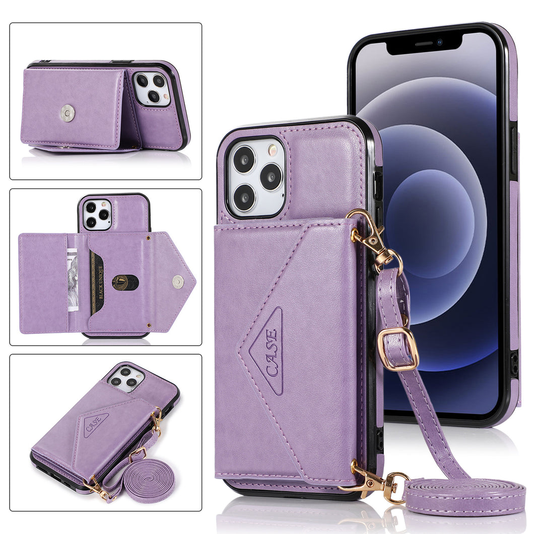 【2021 New】 Triangle Crossbody Multifunctional Wallet Card Leather Case For iPhone