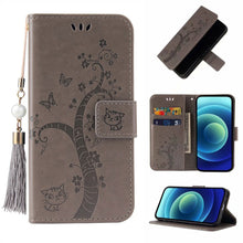 Load image into Gallery viewer, Lovely Butterfly Tree Cat Design PU Leather Wallet Flip Cover Case For Samsung S Series