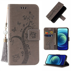 Lovely Butterfly Tree Cat Design PU Leather Wallet Flip Cover Case For Samsung S Series