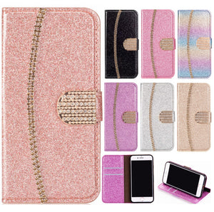 2021 New Bling Glitter Diamond Wallet Flip Case For Samsung