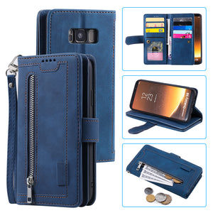 【2021 New】Nine Card Zipper Retro Leather Wallet Phone Case For Samsung S8PLUS