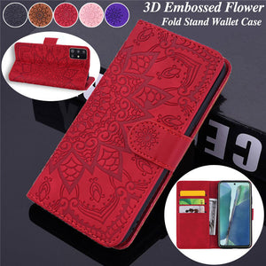 Flip Leather 3D Embossed Phone Case For Samsung Galaxy A71