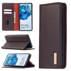 【2021 NEW】Calfskin Leather Flip  Wallet Case For Samsung S Series