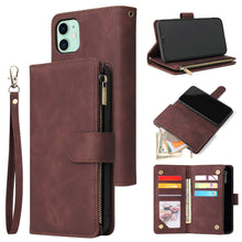 Load image into Gallery viewer, Soft Leather Zipper Wallet Flip Multi Card Slots Case For iPhone 11