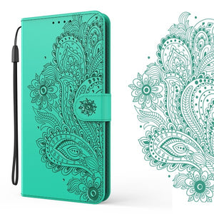 Peacock Embossed Imitation Leather Wallet Phone Case For iPhone