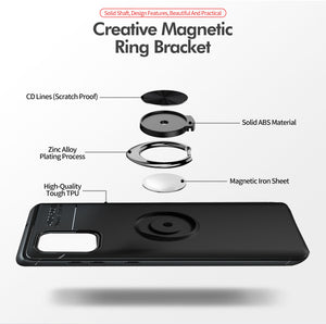 Car Holder Stand Magnetic Bracket Case Finger Ring TPU Case For Samsung S20 Series