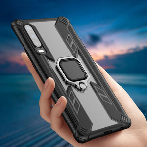 Warrior Style Magnetic Ring Kickstand Phone Cover For Huawei