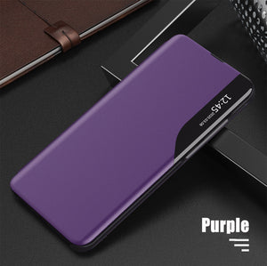 Luxury Smart Window Magnetic Flip Leather Case For Samsung S21 Series