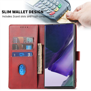 Premium Leather Wallet Side Flip Case With Card Holder & Kickstand For Samsung A71/A51