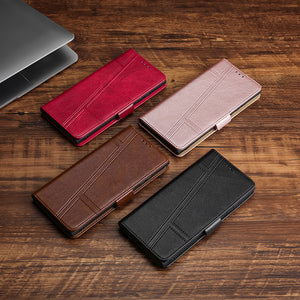 Trapezoidal Side Buckle Soft Leather Wallet case For Samsung Galaxy A10/A10E/A10S