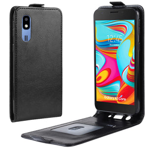 【2021 New】 Crazy Horse Pattern Flip Soft Card Holder Case For SAMSUNG A2 CORE