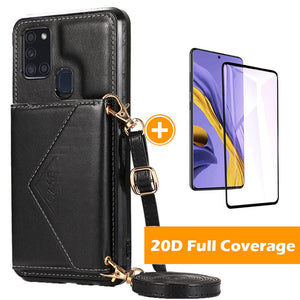 Triangle Crossbody Multifunctional Wallet Card Leather Case For Samsung A21S