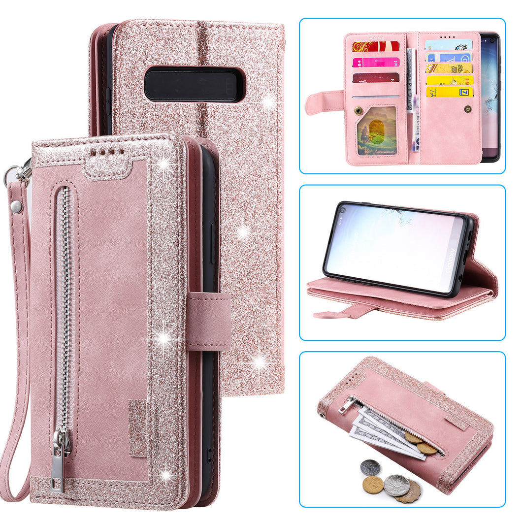 【2021 New】Nine Card Zipper Retro Leather Wallet Phone Case For Samsung Galaxy S10E