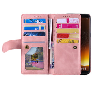 【2021 New】Nine Card Zipper Retro Leather Wallet Phone Case For Samsung S8