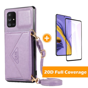 【2021 New】 Triangle Crossbody Multifunctional Wallet Card Leather Case For Samsung A71