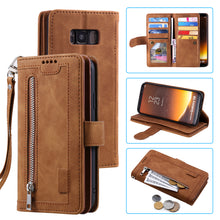 Load image into Gallery viewer, 【2021 New】Nine Card Zipper Retro Leather Wallet Phone Case For Samsung S8PLUS