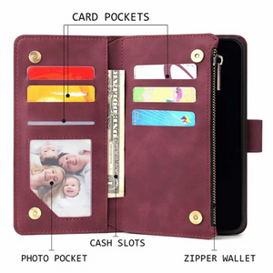 Soft Leather Zipper Wallet Flip Multi Card Slots Case For iPhone 7/8