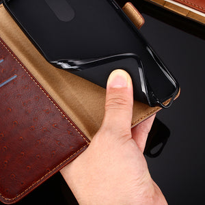 Ostrich Pattern Leather Wallet Flip Magnet Cover Case For SAMSUNG Galaxy A02S