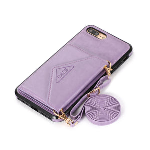 Triangle Crossbody Multifunctional Wallet Card Leather Case For iPhone 7PLUS/8PLUS