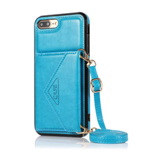 Load image into Gallery viewer, Triangle Crossbody Multifunctional Wallet Card Leather Case For iPhone 6/6S/6PLUS/6SPLUS