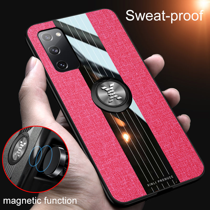 Fashion Luxury Fabric Protect Cases With Magnetic Finger Ring Holder For Samsung S20FE