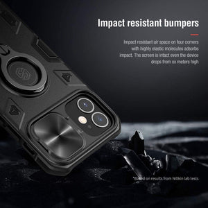 【Black rhino】Luxury Sliding Lens Protection ring holder case for iPhone 12 mini