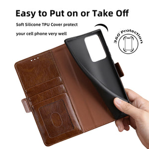 Trapezoidal Side Buckle Soft Leather Wallet case For Samsung Galaxy A51