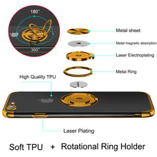 Load image into Gallery viewer, 2020 Transparent Colorful Magnetic Ring Holder Phone Case For iPhone 7/8
