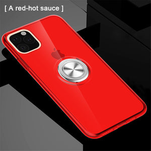 Transparent Soft Silicone Magnetic Ring Holder Phone Case For iPhone
