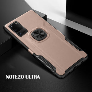 Magnetic Finger Ring PC + TPU Combo Phone Case [Built-in Magnetic Metal Sheet] For Samsung Note 20 Ultra