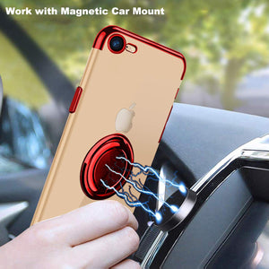 2020 Transparent Colorful Magnetic Ring Holder Phone Case For iPhone 7/8