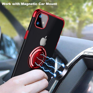 2020 Transparent Colorful Magnetic Ring Holder Phone Case For iPhone11 series Case