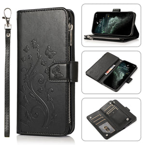 Luxury Zipper Leather Wallet Flip Multi Card Slots Case For Samsung Galaxy A50/A50S