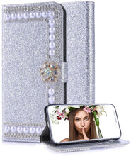 Load image into Gallery viewer, Luxury Fashion Glitter Bling Rhinestone Closure Wallet Leather Case For iPhone