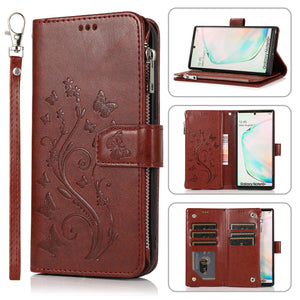 Luxury Zipper Leather Wallet Flip Multi Card Slots Case For Samsung Galaxy NOTE10Plus