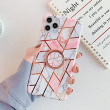 Load image into Gallery viewer, Electroplating Geometric Flower With Ring Holder For IPhone Case