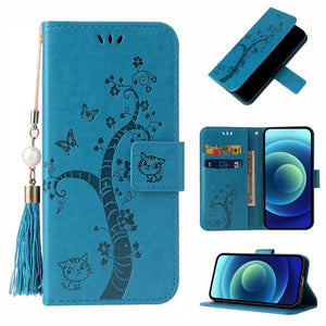 Lovely Butterfly Tree Cat Design PU Leather Wallet Flip Cover Case For Samsung S21